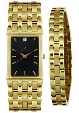 bulova men s diamond yellow gold tone bracelet setwatch shop mens bulova gold bracelet