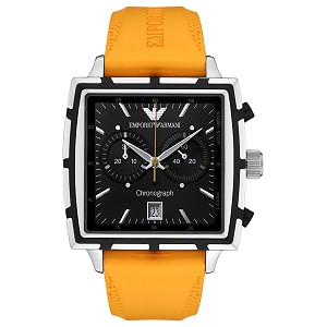 Emporio Armani Men's Chronograph Orange Rubber