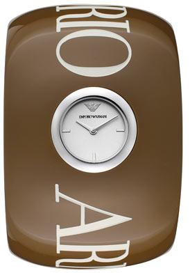 Emporio Armani Women's Silver Dial Taupe Plastic Bangle